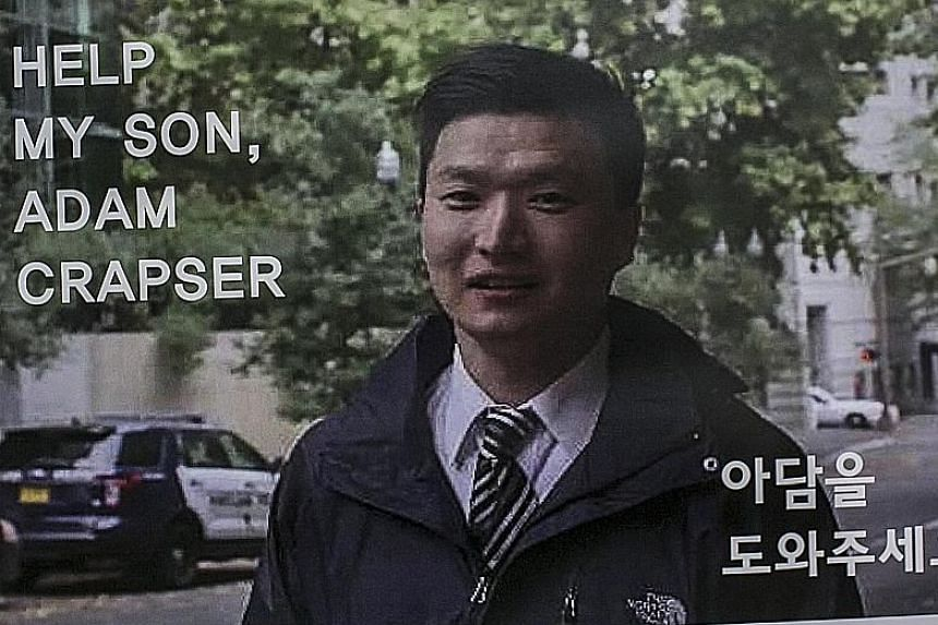 Madam Kwon, 61, is learning to speak English so that she can communicate with her son, Mr Crapser, whom she gave up for adoption in 1978 but who was deported from the United States this week.
