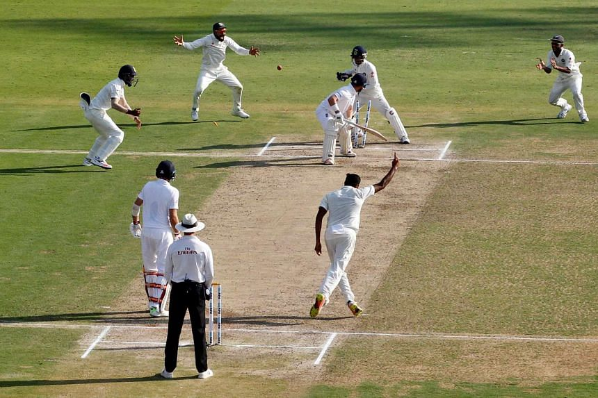 India's players celebrate the dismissal of England's Ben Duckett.