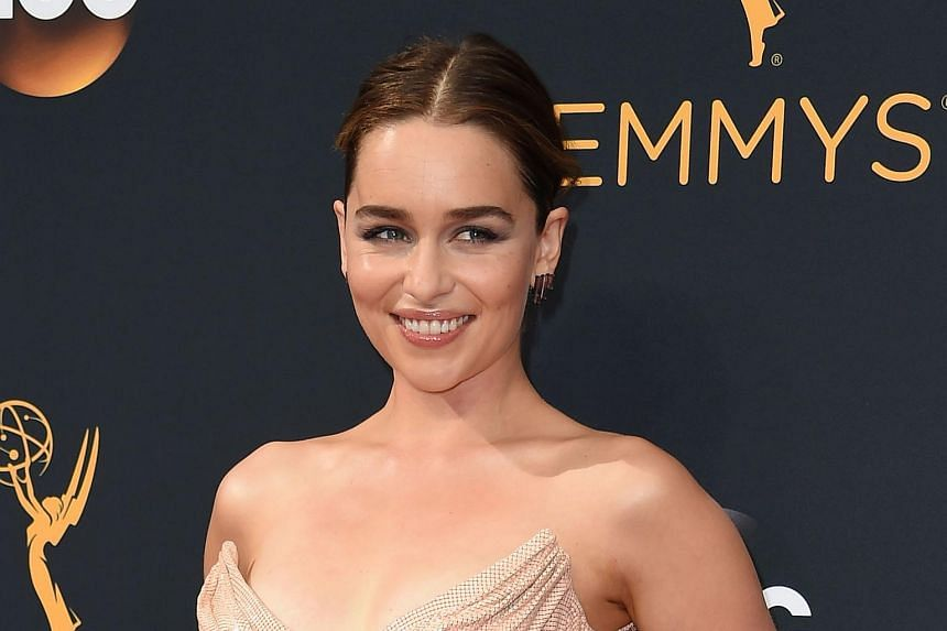 Emilia Clarke arrives for the 68th Emmy Awards on Sept 18, 2016 at the Microsoft Theatre in Los Angeles.