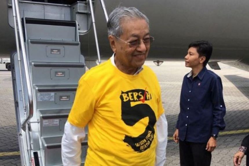 Tun Dr Mahathir Mohamad arriving from Sudan to attend the Bersih 5 rally in Kuala Lumpur.
