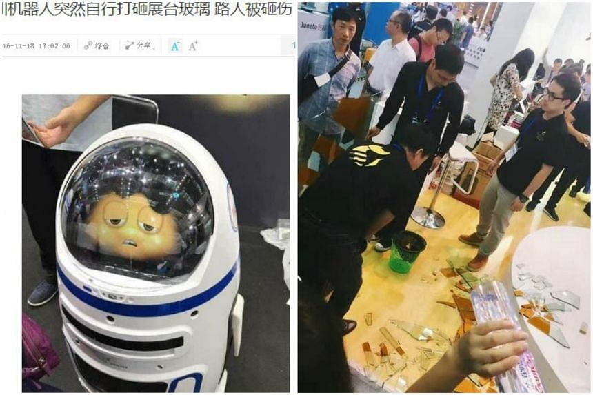 Man wounded by broken glass after robot smashes window at Shenzhen technology fair.