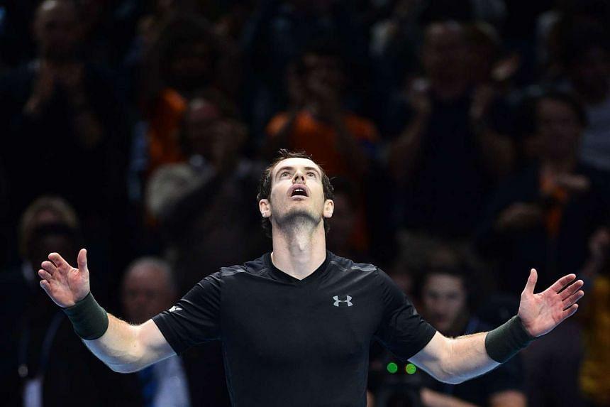 Murray celebrates his win.