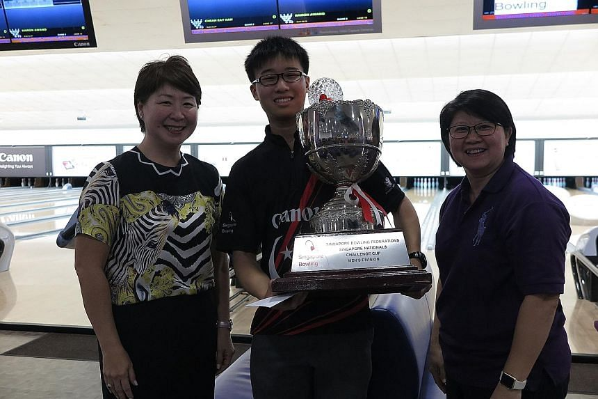 Yesterday's 47th Singapore National Bowling Championship saw Cheah Ray Han, 16, become the youngest men's champion when he beat Hairon Awang 237-186 in the deciding second game of the step-ladder finals. Tracy See defended her women's Open crown succ
