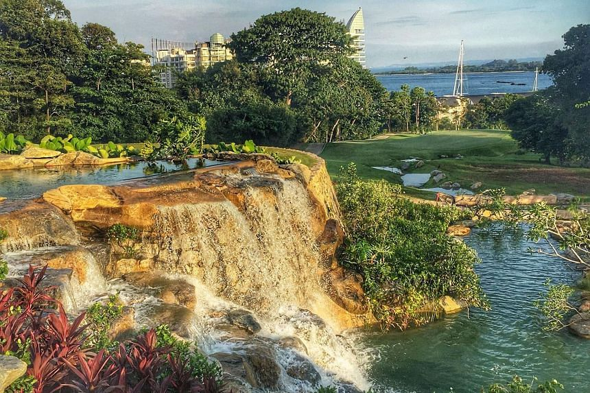 The 20m waterfall is a highlight of Sentosa Golf Club's New Tanjong Course.