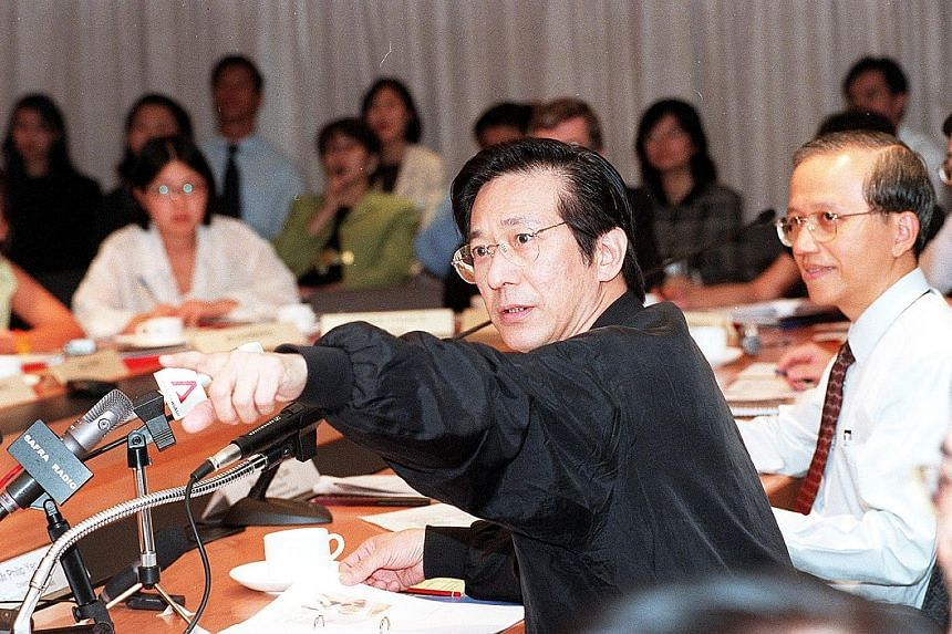 "Mr Philip Yeo at a press conference in 2000. Mr Yeo travelled extensively across the world, sold Singapore like ""a pimp"" (in his own words) to multinational corporations and worked tirelessly to find jobs for Singaporeans."