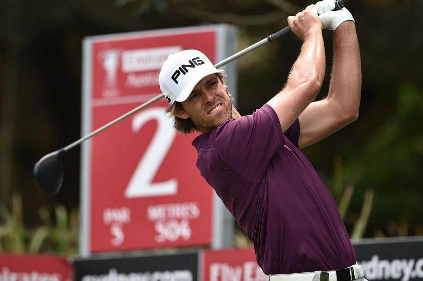 Australian golfer Aaron Baddeley tees off on the second hole on day three of the Australian Open golf tournament on Nov 19, 2016.