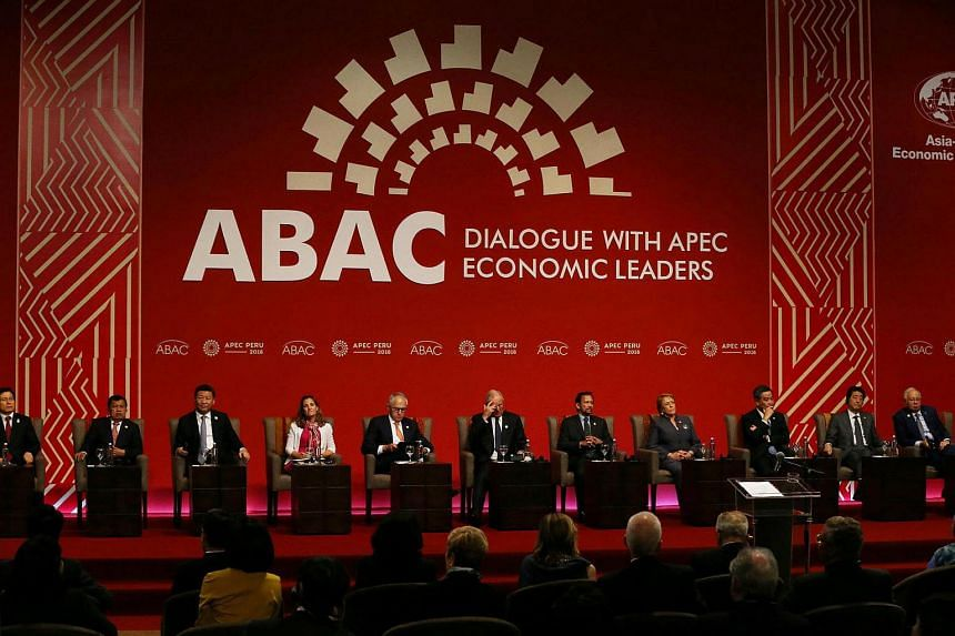 Heads of state participate in a meeting of the Apec Business Advisory Council in Lima, Peru, on Nov 19, 2016.