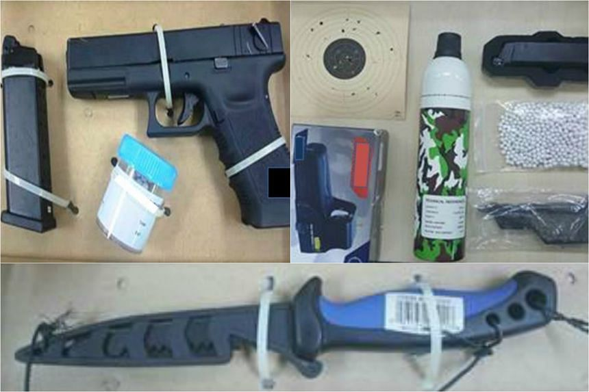 The weapons, which included an air pistol and a knife, seized from the suspect.