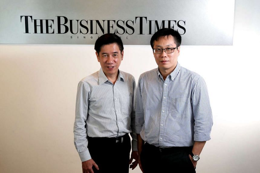Mr Alvin Tay (left) and Mr Wong Wei Kong will be managing editor of English/Malay/Tamil Media group (EMTM) and editor of The Business Times respectively.