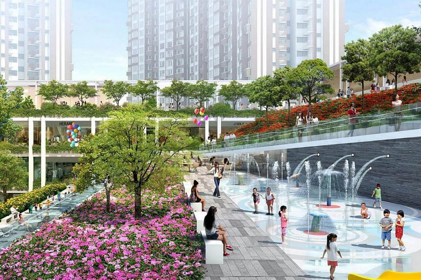 An artist's impression of Oasis Terraces, an upcoming integrated development by the Housing Board (HDB).