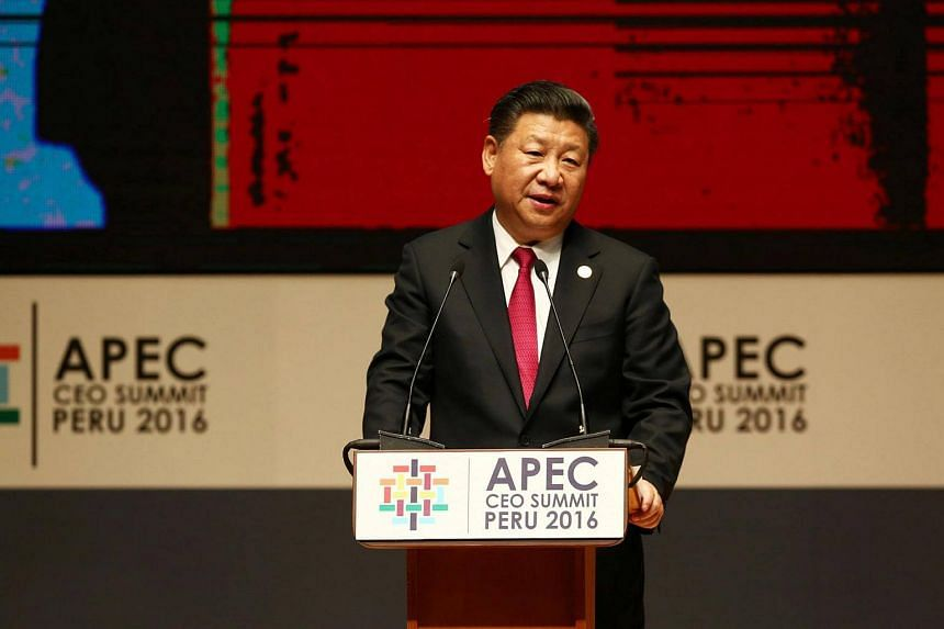 China's President Xi Jinping addresses audience during a meeting of the Apec (Asia-Pacific Economic Cooperation) Ceo Summit in Lima, Peru on Nov 19, 2016.