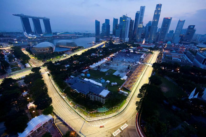 Part of the illuminated circuit is seen during the third practice session of the Singapore F1 Grand Prix at the Marina Bay circuit on Sept 25, 2010.