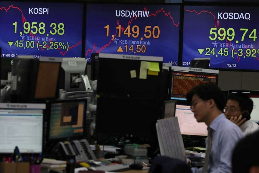 Currency dealers working in front of electronic boards showing the Korea Composite Stock Price Index (KOSPI) (left) and the exchange rate between the US dollar and South Korean won (centre), at a dealing room of a bank in Seoul, South Korea, on Nov 9
