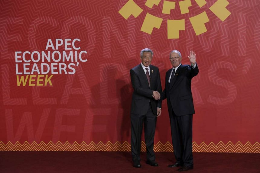 PM Lee Hsien Loong meets Peru President Pedro Pablo Kuczynski at the Apec Summit in Lima, Peru, on Nov 19, 2016.