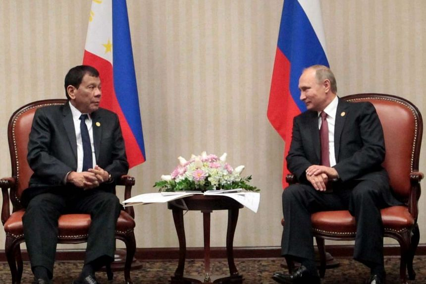 Filipino President Rodrigo Duterte meeting with Russian President Vladimir Putin during a meeting on the sidelines of the Asia-Pacific Economic Cooperation (APEC) Leaders' Summit in Lima, Peru, on Nov 19, 2016.