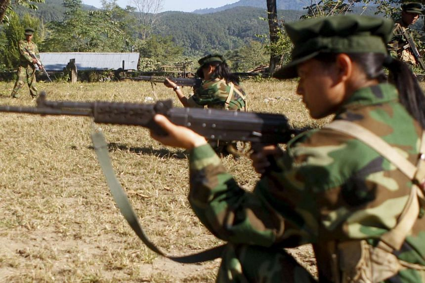 Female soldiers of Kachin Independence Army (Kia) in action during the training session at a military camp near Laiza, Kachin State, northern Myanmar on Nov 19, 2016.