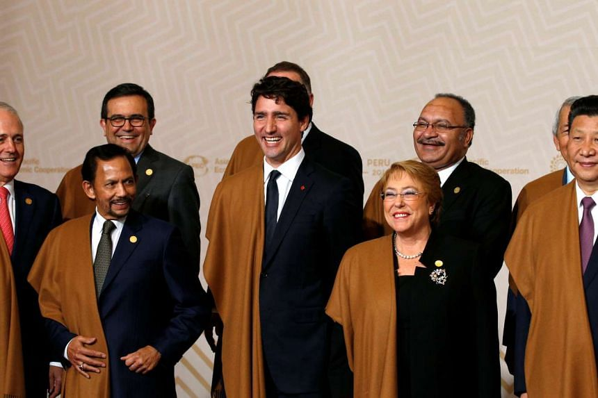 Wearing a Peruvian shawl, Canadian Prime Minister Justin Trudeau (centre) joins other leaders for a family photo at the Apec Summit in Lima, Peru, on Nov 20, 2016.