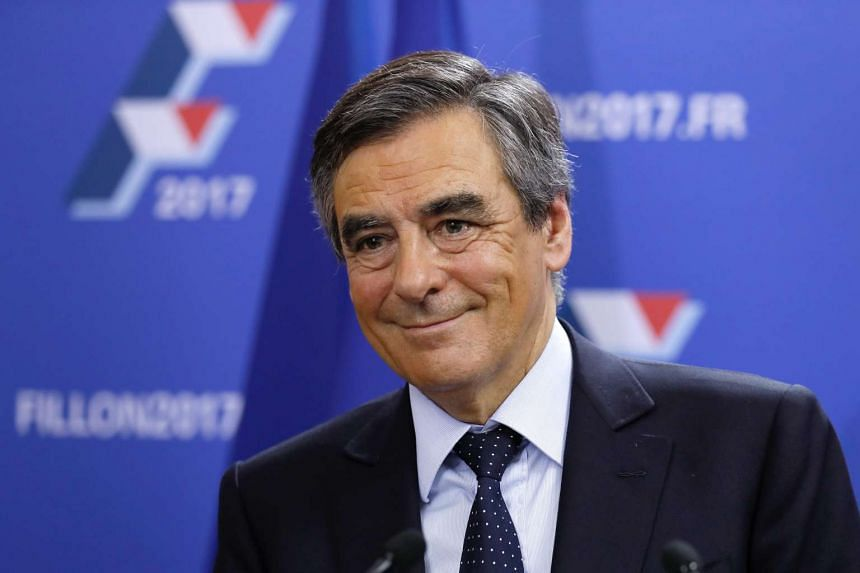 Former French prime minister Francois Fillon at his campaign headquarters in Paris after finishing first in the first round of the conservative presidential primary on Nov 20, 2016.