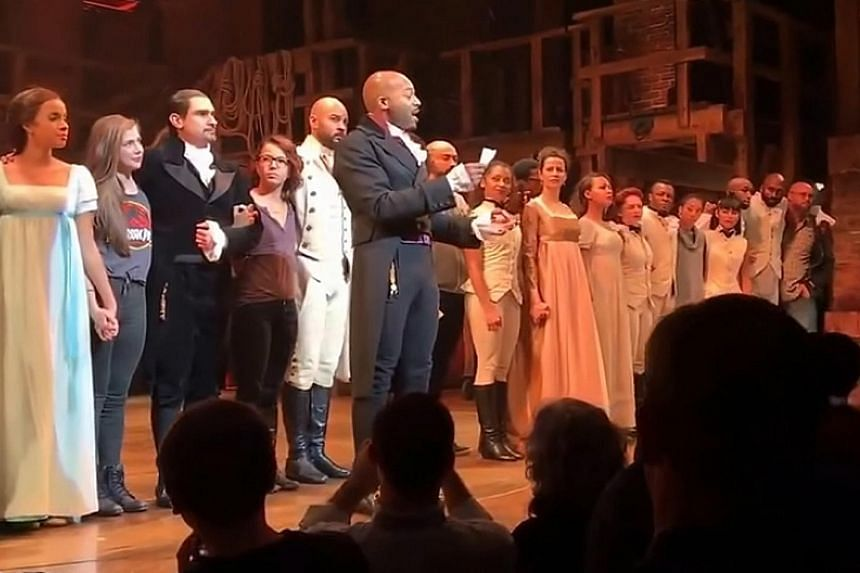 """The cast of Hamilton making their appeal to Mr Pence, urging him and Mr Trump to """"uphold our American values"""" and """"work on behalf of all of us""""."""