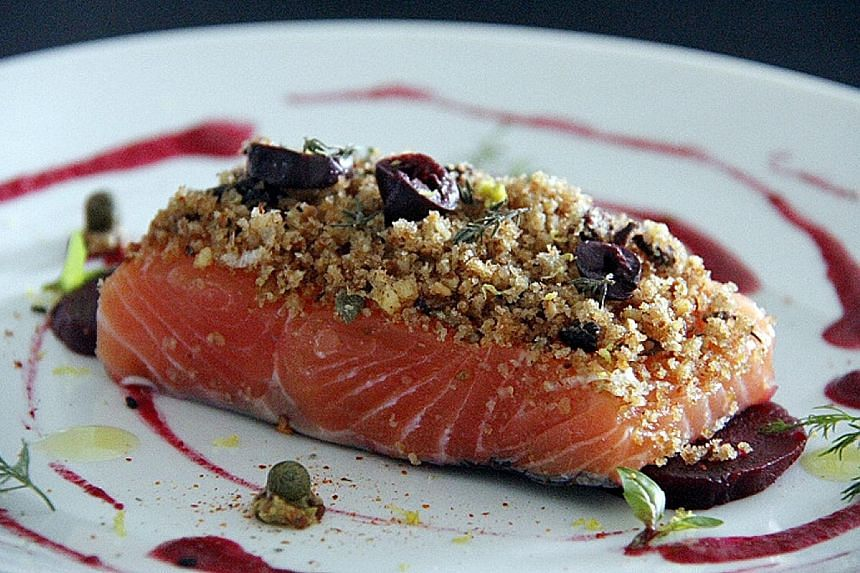 Learn to cook Mediterranean dishes such as baked salmon fillet with lemon almond crust and beetroot (above) at a workshop, watch Italian film The Feast (2007) and learn about the history of wine with Dr Michele Agostini.