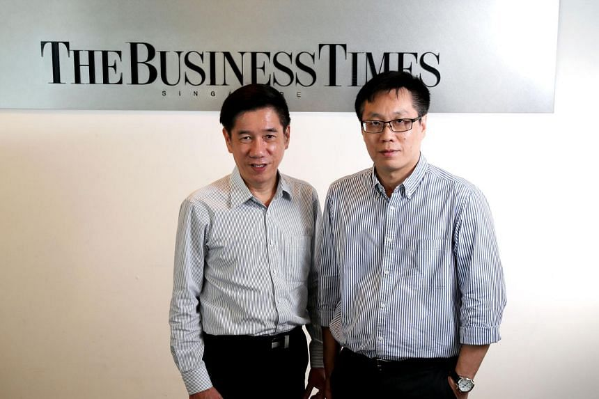 Mr Tay (far left) will work with newsrooms in the EMTM group to grow their product offerings, as well as develop new projects to boost the group's financial position. Mr Wong said The Business Times will continue to focus on growing its franchise.