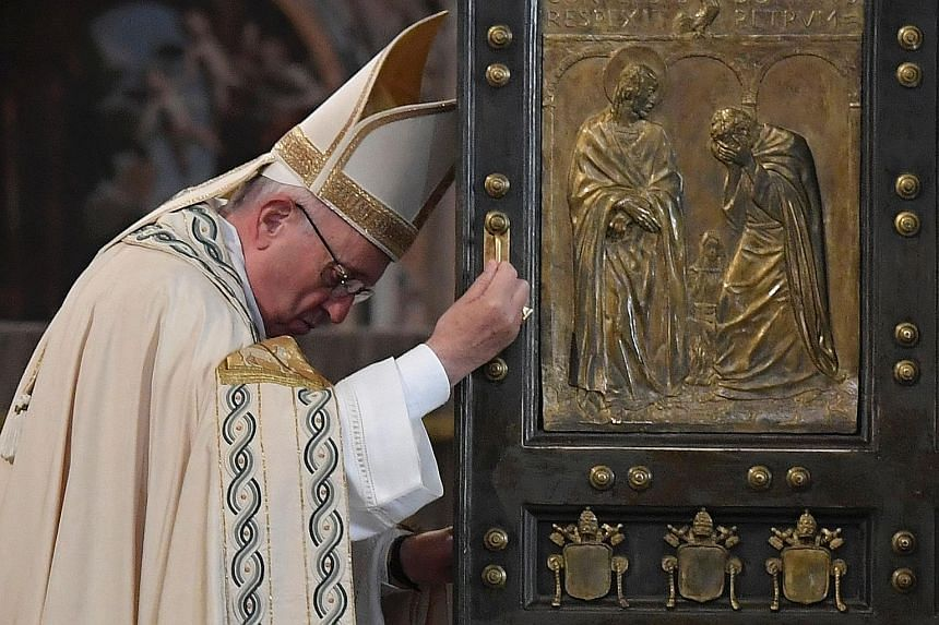Pope Francis marking the end of the Jubilee of Mercy as he closed the Holy Door at St Peter's Basilica in Vatican City yesterday. The special jubilee was called to offer a time for mercy, to allow wounds to heal.