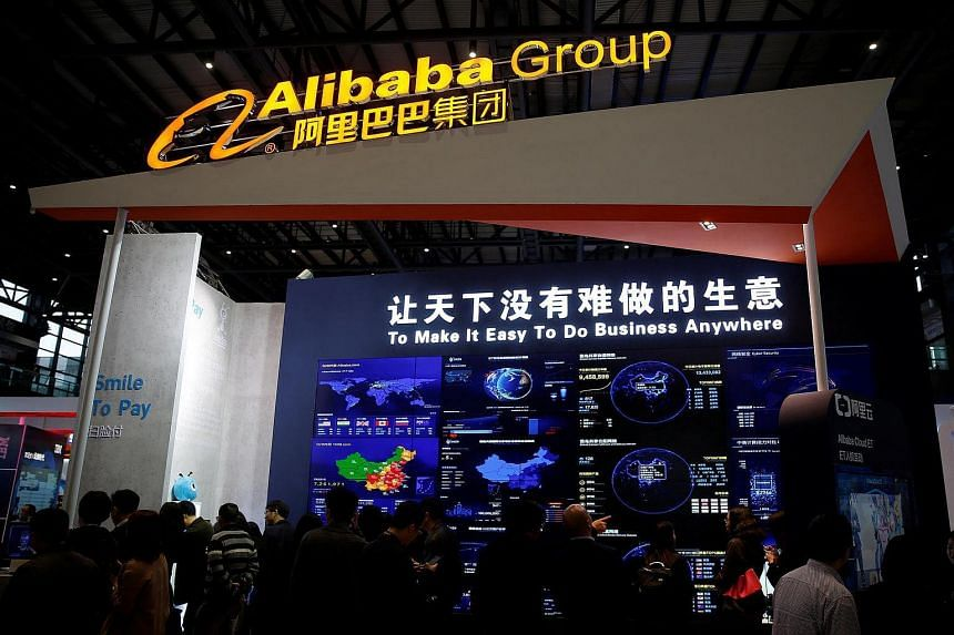 A sign of Alibaba Group is seen during the third annual World Internet Conference in Wuzhen town of Jiaxing, Zhejiang province, China on Nov 16, 2016.