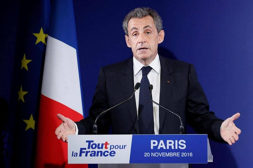 Former French president Nicolas Sarkozy delivers a speech at his presidential campaign headquarters after the vote's first round on Nov 20, 2016 in Paris.