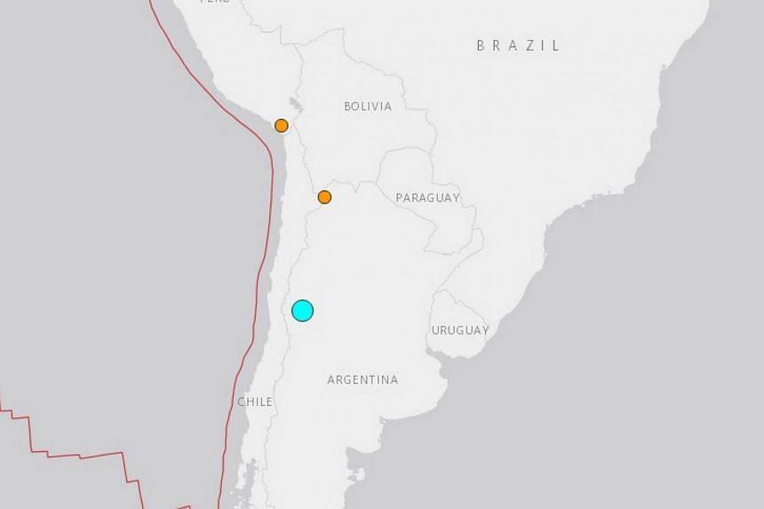 A strong quake hit western Argentina, shaking buildings as far away as Santiago, on Nov 21, 2016.