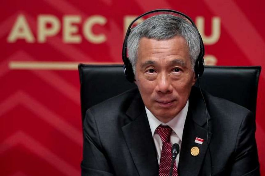 PM Lee Hsien Loong at the Asia-Pacific Economic Cooperation (Apec) leaders' retreat on Sunday (Nov 20).