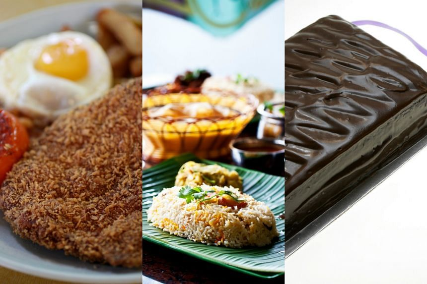 (From left) Chicken Maryland from Colbar Restaurant, Nasi Briyani from The Banana Leaf Apolo and Lana Cakes' chocolate fudge cake.