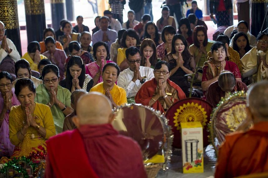 Relatives of King Thibaw attend a ceremony at Mandalay's Golden Palace on Nov 22, 2016 to mark the anniversary of his exile.
