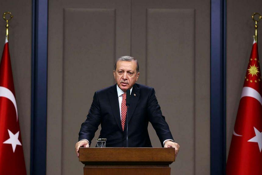 Turkish President Tayyip Erdogan speaking at a news conference in Ankara on Nov 16, 2016.