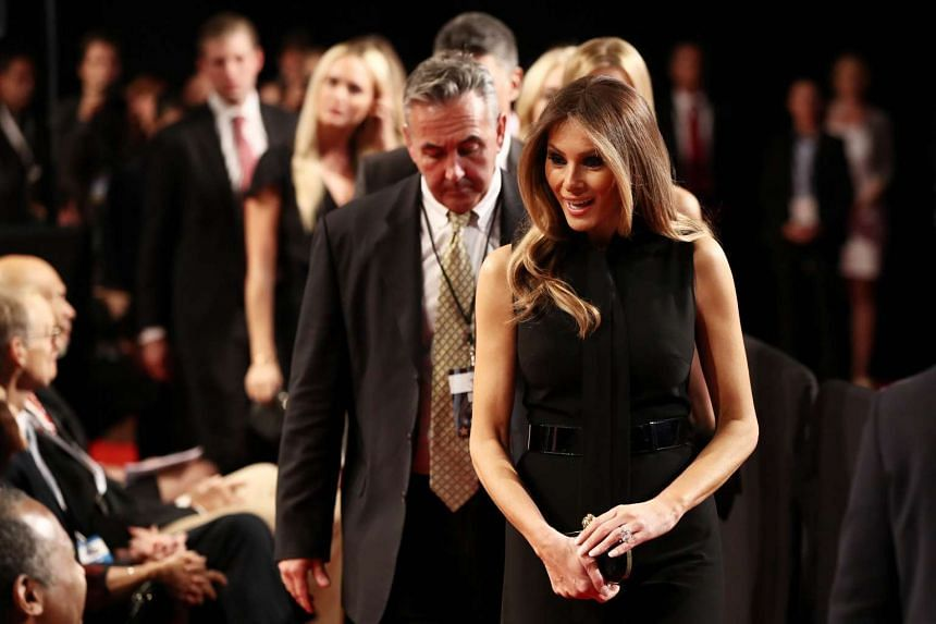 Melania Trump arrives before the start of the third US presidential debate at the Thomas & Mack Center on Oct 19, 2016.