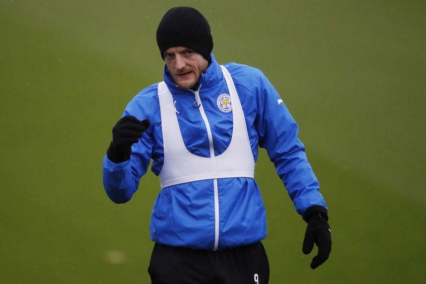 Leicester City's Jamie Vardy during training.