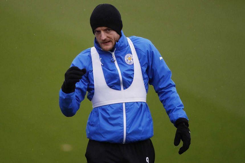 Leicester City's Jamie Vardy during training.