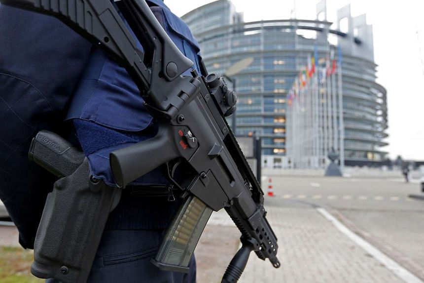 A French CRS policeman stands guard in front of the European Parliament in Strasbourg, France, on Nov 21, 2016.
