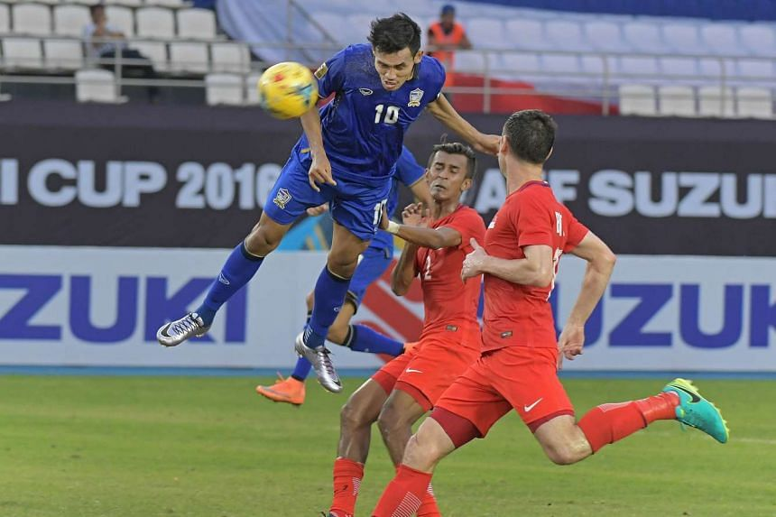 Thailand's Teerasil Dangda attempting a header which did not find the net, during the Suzuki Cup 2016 match against Singapore at the Philippines Sports Stadium on Nov 22, 2016