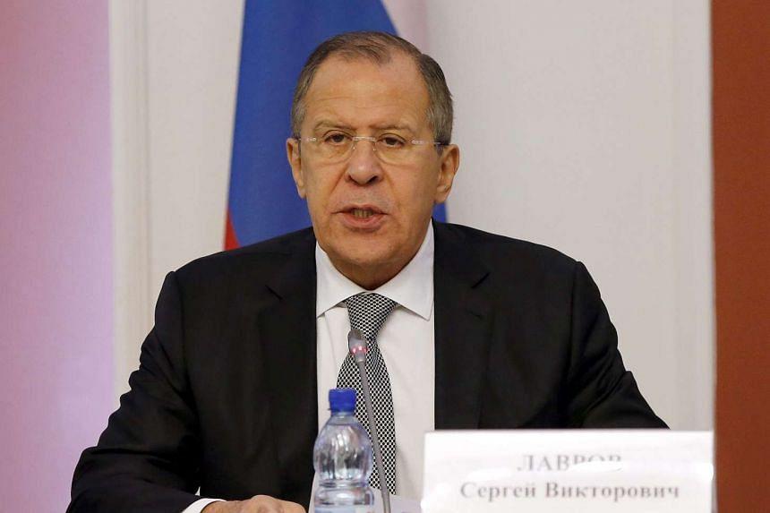 Russian Foreign Minister Sergei Lavrov talks in Minsk, Belarus, Nov 22, 2016.