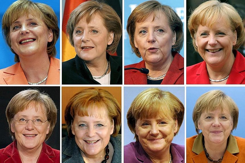 A pictorial record of German Chancellor Angela Merkel's years in office: (top row, from left) 2005, 2006, 2007, 2008 (second row from left) 2009, 2010, 2011, 2012, and (third row from left) 2013, 2014, 2015, 2016.