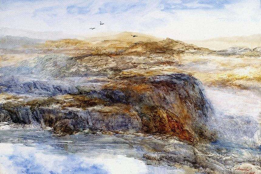 One of the paintings (above) in the Return To Nature series by watercolourist Chew Piak San.