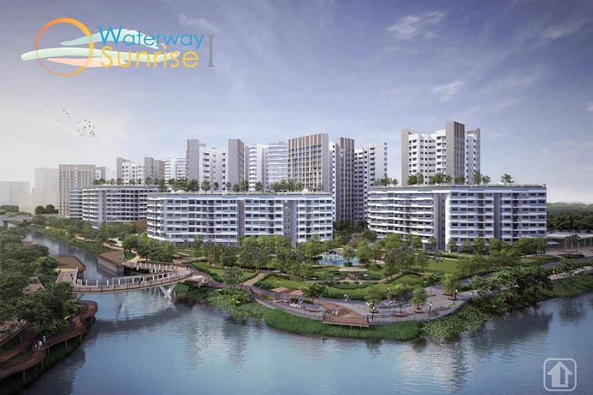 Waterway Sunrise I, located between the Serangoon Reservoir and the eastern end of My Waterway@Punggol will have 671 2-room Flexi flats, 80 3-room flats, 341 4-room flats, 138 5-room flats, and 65 3Gen flats.
