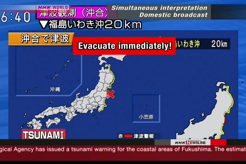 Fukushima residents were urged to flee to higher ground after the earthquake hit northern Japan.