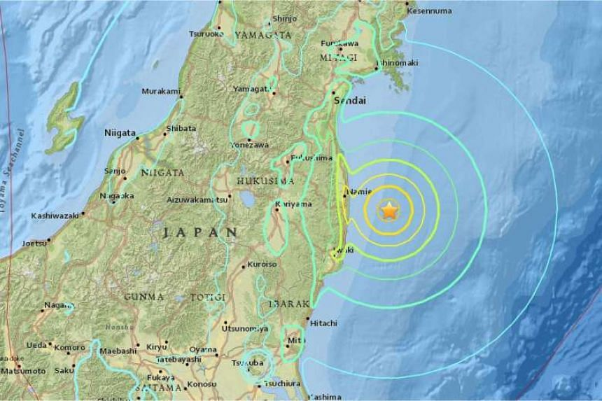 An earthquake with a preliminary magnitude of 7.3 hit northern Japan on Tuesday (Nov 22), the Japan Meteorological Agency said, issuing tsunami advisories for much of the nation's northern Pacific coast.