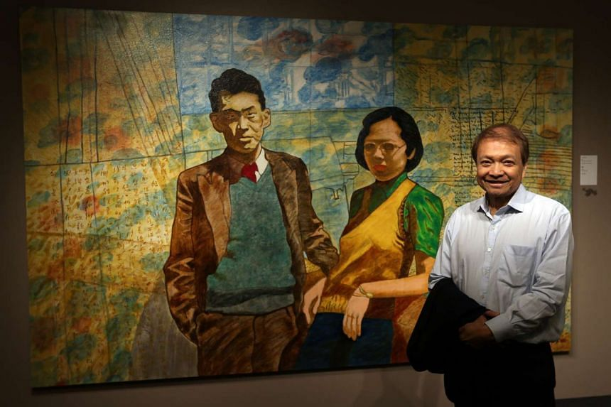 This portrait of Mr Lee Kuan Yew and his wife, Madam Kwa Geok Choo, by Tan Swie Hian (above) is on show at the National Library Building till March 19.
