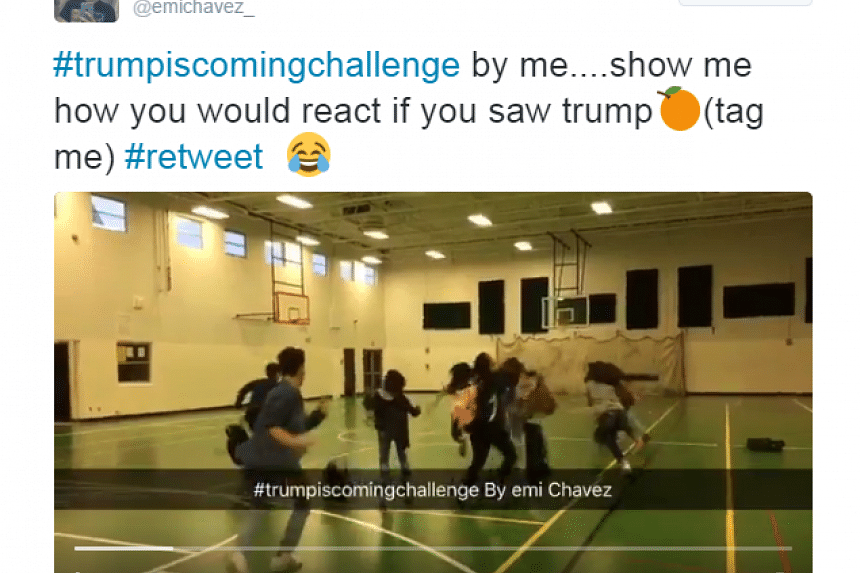A screenshot of the #TrumpIsComing Challenge from Emi Chavez's Twitter account.