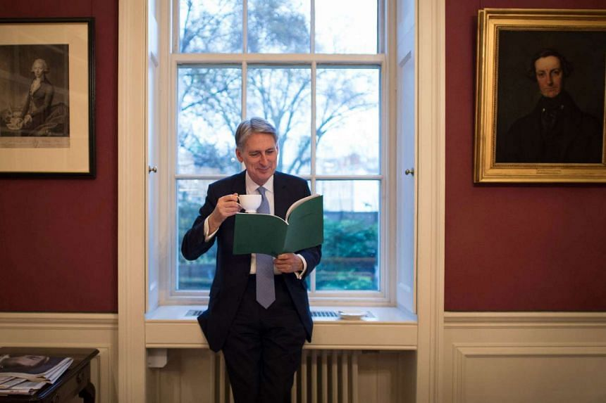 British Finance Minister Philip Hammond in his office at 11 Downing Street in London.