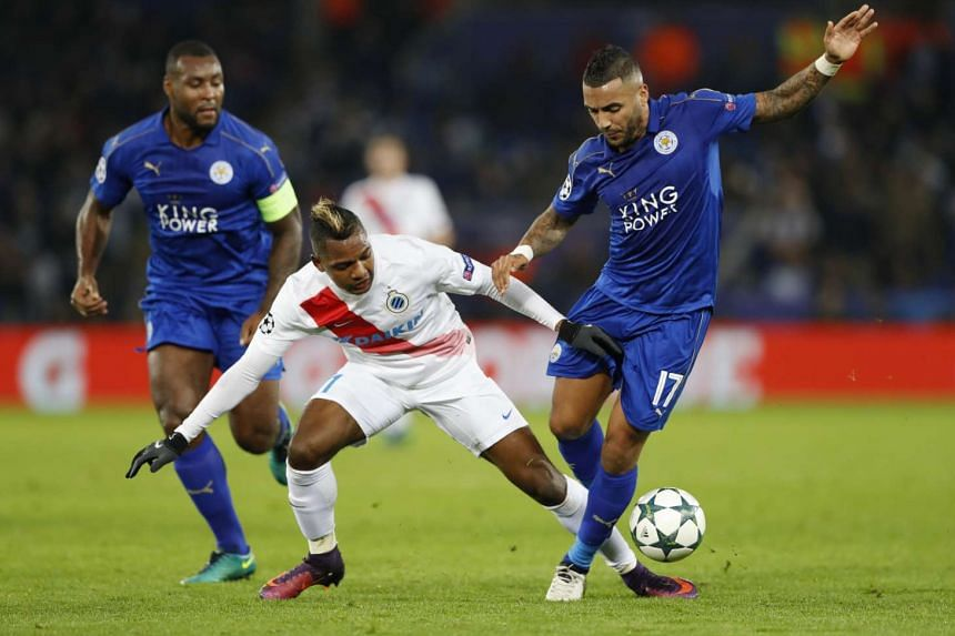 Club Brugge's Jose Izquierdo in action with Leicester City's Danny Simpson.