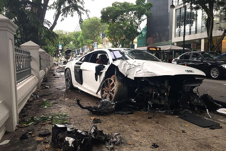 The car ended up on the pavement outside the Cathedral of the Good Shepherd in Bras Basah Road. The church had recently undergone three years of restoration work. The driver had minor injuries.