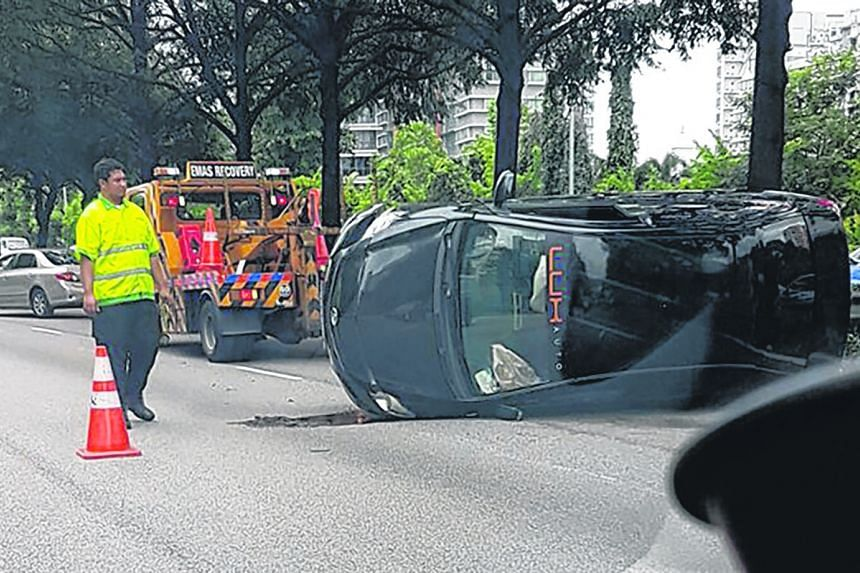 A car flipped on its side on the Central Expressway yesterday morning, leading to congestion along a 5km stretch of the expressway. The driver, a man in his 20s, declined to be taken to hospital.